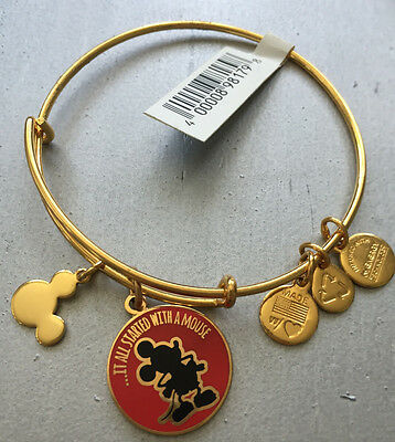 """NWT Alex And Ani Disney """"It All Started With A Mouse"""" Charm Bracelet Gold FInish"""