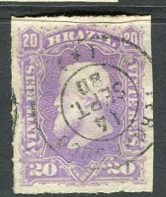 BRAZIL;  1870s early classic Dom Pedro issue fine used 20r. value Postmark