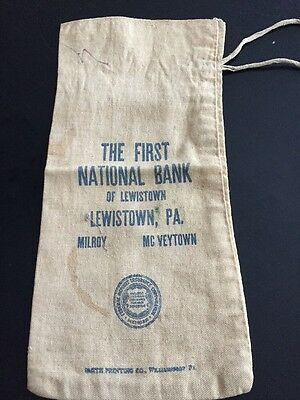 First National Bank Of Lewistown Coin Change Bag Milroy McVeytown PA