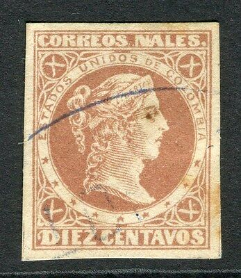 COLOMBIA;  1876 early classic Imperf issue fine used 10c. value