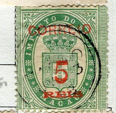 MACAU;  1887 early classic surcharged Fiscal 5r. used value