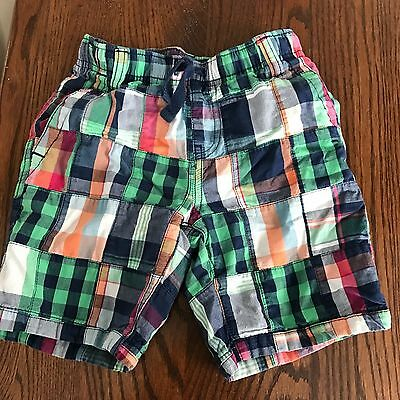 "Gymboree boys cotton multi color plaid  elastic waist  inseam 5"" shorts size 5"