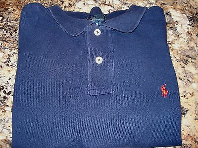 YOUTH.... POLO RALPH LAUREN Short Sleeve Navy Blue Polo Shirt (Size: L-16/18)