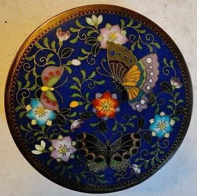 Superb  Japanese Cloisonne Enamel Compact / Powder Box Inaba Butterflies 1890
