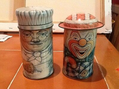 Vintage Daher Long Island Cap Tin Smiling Clown And The Chef By The Tin Company