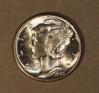 1945 D Mercury Dime BU Full Split Bands               ** FREE U.S. SHIPPING **