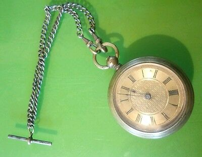 Antique Victorian gold plated pocket watch & chain