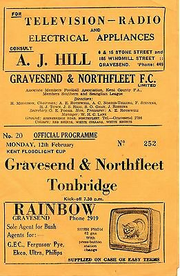 Gravesend v Tonbridge 1962 Kent Floodlight Cup