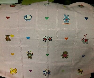 New Baby Girl hand-embroidered blanket 34x36 in.