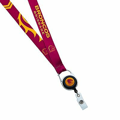 33920 Brisbane Broncos Nrl Team Logo Retractable Lanyard Badge Reel Clip