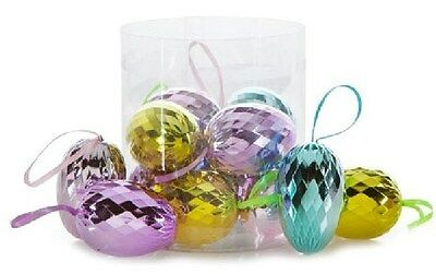 """12 EASTER TREE EGG ORNAMENTS Mirror Ball unbreakable plastic 2.25"""""""
