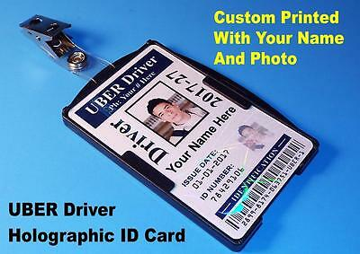 UBER Driver ID Card   Custom Printed W/ Your Photo / Info   Holographic UBER ID