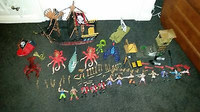 Massive Joblot Toy Pirate Ship With Characters/Accessories - Collect Oldham OL8
