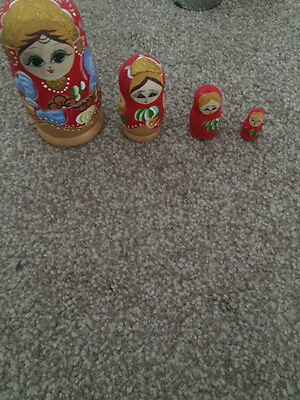Set Of Wooden Russian Dolls Painted Doll Red Gold