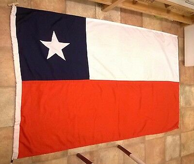 CHILE  FLAG  RARE QUALITY MATERIAL  35 X 70ins