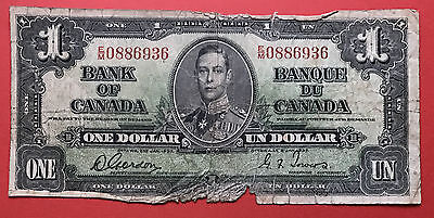 1937 $1 Canada One Dollar Gordon Towers - E/M Prefix - Damaged