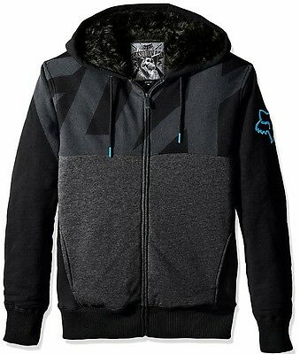 fox racing kaos sasquatch zip fleece fur lined hoody BLACK BLUE XL 17477-013
