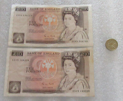 England Lot of 2 10 Pound Notes and One Pound Coin $21 Pound Face Value Total