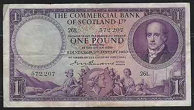 The Commercial Bank of Scotland Ltd 1 Pound note 1950 F+