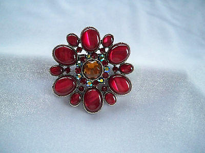 Red Lucite Cabochons & Rhinestone Cluster Brooch Hair Clip Barrette