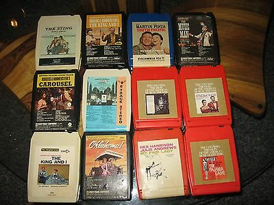 Lot of 12 Movie Soundtracks on 8 Track Tapes-The Sting, The King and I , etc etc