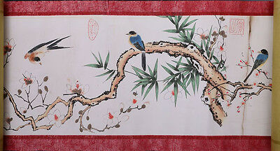 Rare Long Old Chinese Scroll Hand Painting Flowers Birds Marked WuGuanDai NA326