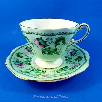Handpainted Pink Floral on Light Green Foley Tea Cup and Saucer Set