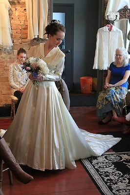 1940's Satin and Lace Yoke Wedding gown