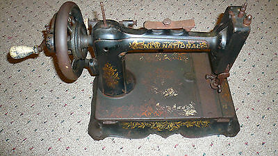 ANTIQUE VINTAGE NEW NATIONAL CAST IRON HAND CRANK SEWING MACHINE RARE 1890s