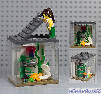 LEGO - Fish Tank & Girl Minifigure Jellyfish Crab Clam Animal Terrarium Aquarium