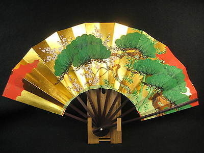Vintage Japanese Ohgi Fan For Dancing Pine Tree Bamboo Plum W/ Bamboo Stand