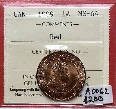 1909 Canada Large One Cent Penny A0062 $250 - ICCS MS 64 - Bright Red