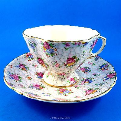 Pretty Floral Chintz Hammersley Tea Cup and Saucer Set