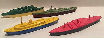 Vintage Bakelite Plastic Toy Submarine 1950s Set Of 4