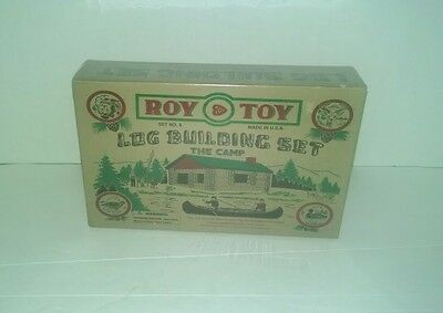 Roy Toy Real Wood Log Building Set #9 Set The Camp Ages 3+ MADE IN MAINE USA NIB