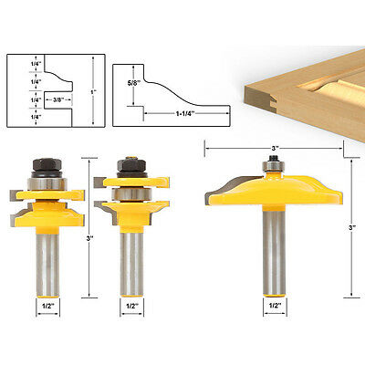 """1/2"""" Shank Raised Panel Cabinet Door Cutter Router Bits Set For WoodWorking Tool"""
