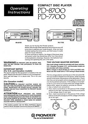 Pioneer PD-8700 CD Player Owners Manual