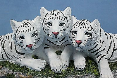 White Tiger Statue White Tiger Cubs Playing Cat Blue Eyes Statue Figurine
