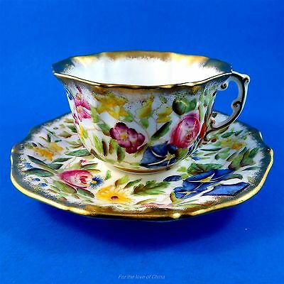 Colorful Handpainted Queen Anne Hammersley Tea Cup and Saucer Set