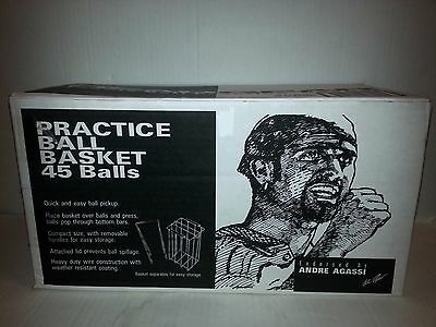 Andre Agassi Tennis Champion PRACTICE HEAD TENNIS BALL BASKET NEW IN BOX RARE