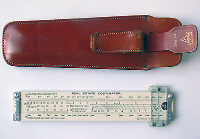 RARE vintage PICKETT model 23 Real Estate SLIDE RULE Costimator WITH CASE xlnt!