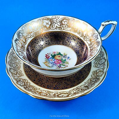 Cobalt and Rich Gold and Floral Bouquet Hammersley Tea Cup and Saucer Set