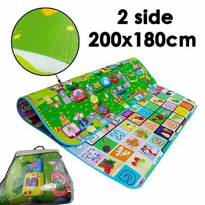 200*180cm ABC Kids Baby Playmat Play Mats Rug Carpet Educational Game 2 Side UK