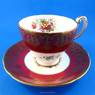 Signed Gold on Deep Red and Floral Bouquet Hammersley Tea Cup & Saucer Set