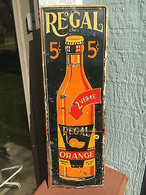 Original 1920s Regal Orange Soda 5 Cents Tin Gas Station General Store Sign