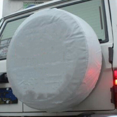 """17"""" DIY Trailer Spare Tire Tyre Wheel Cover Pure White Heavy Duty Vinyl Material"""
