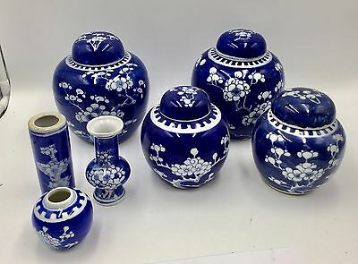 Lot Of 7 Antique Chinese Blue & White Porcelain Ginger Jars With Prunus Pattern