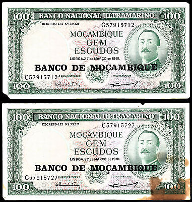 Portugal 1961 Overprint Bank of Mozambique 100 One Hundred Escudos Banknotes (2)