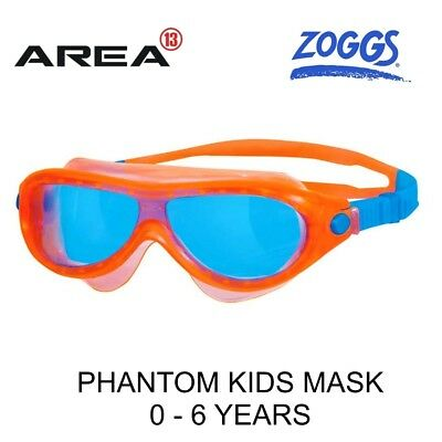 Zoggs Phantom Kids Swimming Mask Orange & Blue, Children's Swimming Goggles