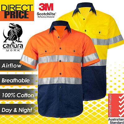 New Hi Vis Shirts Safety Work Shirt Wear Cotton Drill Vent Light Short Sleeve 3M